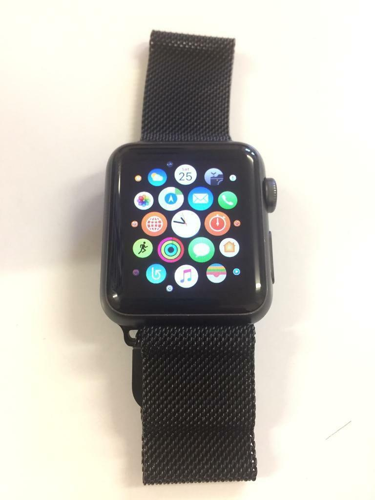 Apple Watch 38mm with 2 strapsin Swindon, WiltshireGumtree - Apple Watch 38mm with a metal strap. £29 from amazon and the original black sport band. Comes with charging lead. Some light scratches on face