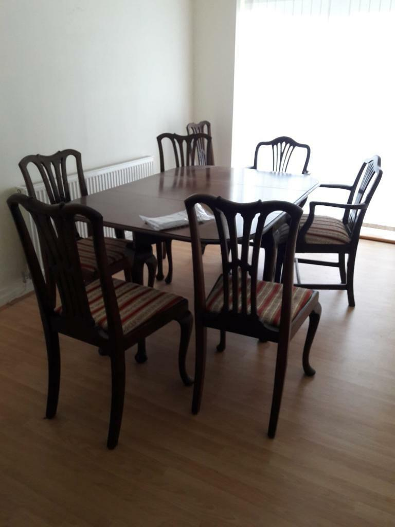 Mahogany folding dining table 7 chairs   in Chester ...