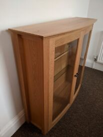 Marks and Spencer M&S Solid Oak wood wooden cabinet with glass shelves