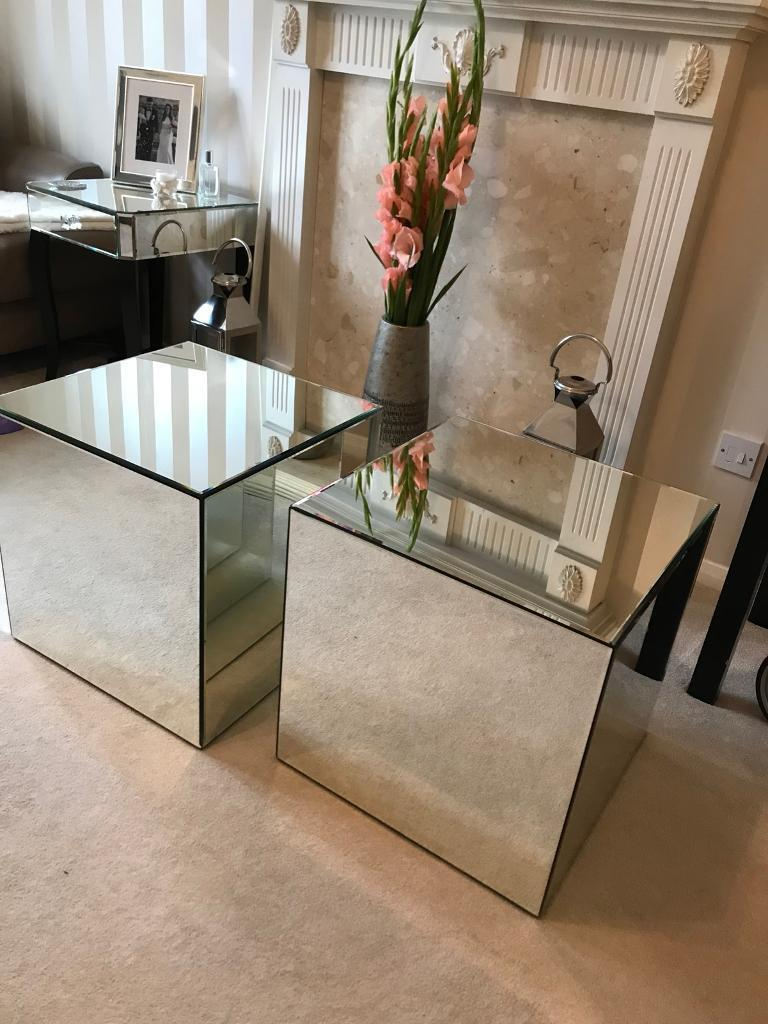 2 x New Ex Showroom Square Mirrored Glass Coffee Tables / Bedside Tables