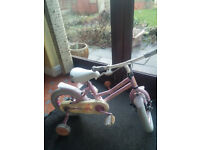 Girls 2 wheel cycle with stabilisers, age approx 2+