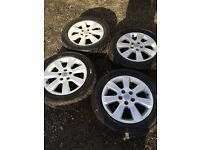 VAUXHALL SET OF 4 ALLOY WHEELS & TYRES 5 STUD EXCELLENT CONDITION