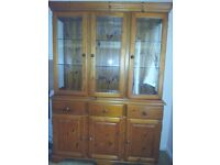 Illuminated Pine Display Cabinet