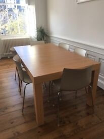 Habitat Oak Veneer Extendable Dining Table and 6 Catifa Two-Tone Taupe and White Chairs (Stackable)