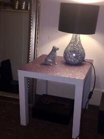 Glitter topped white side table/coffee table/lamp table
