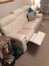 White leather 3 & 2 seater sofas