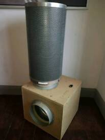 Acoustic Silent Box Fan + Carbon Filter, Heat Free Lighting System, Variable 600w Ballast