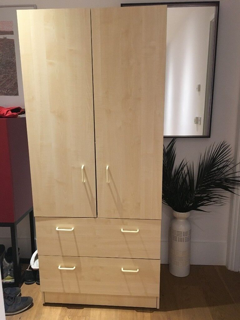 Beech Colour Wardrobe With Hanging Space And Two Drawers Mint