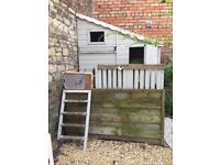 FREE Wendy house, wooden flat pack. small balcony, vehicle access , fair condition