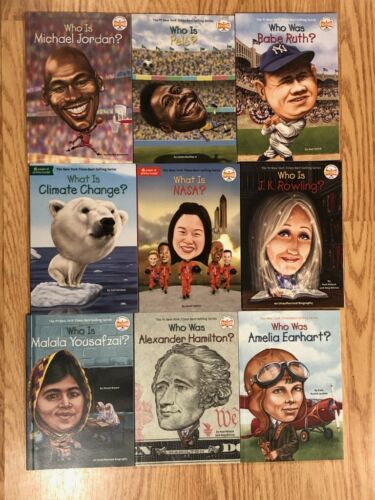 Lot of 9 Who is Who was What is? Series BOOKS: NASA Earhart Malala Hamilton NEW