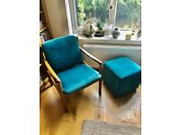 ERCOL armchair and footstool (not ERCOL) which has been refurbished