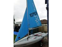 2010 Laser Pico sailing dinghy with combi road/ beach trailers.