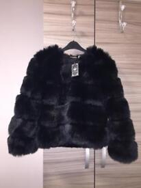 Faux Fur Black Coat