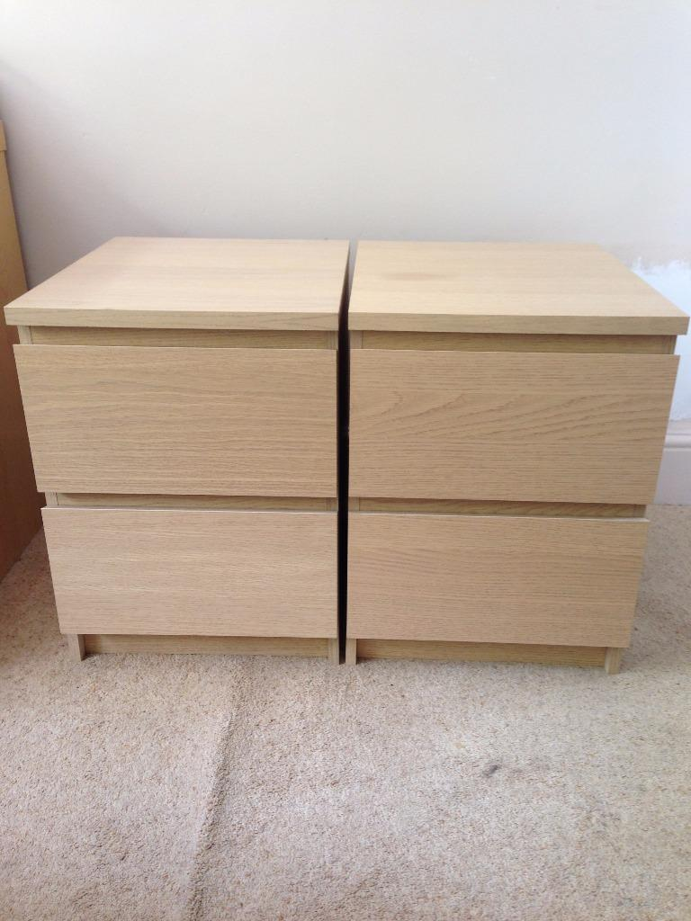 Two Ikea Malm Bedside Tables In Oak Buy Sale And Trade Ads