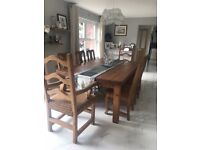 Set of 8 pine dining chairs.