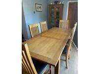 Next Cambridge Oak Extendable Dining Room Table & 6 Chairs