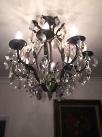 STORAGE CLEARANCE - ANTIQUE FRENCH 1930'S BRASS 8 ARM CHANDELIER