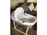 White Moses Basket with stand £20