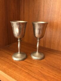2 vintage English silver candle holders