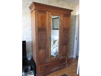 Vintage Wardrobe from 50's hard wood front carved panels 3 pices for transport