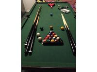 Great Pool / snooker table with lots of accessories 6ft by 3ft