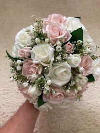 Artificial Bridal Wedding Flower Bouquet & Groom's Buttonhole Flower