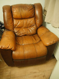 REDUCED Brown Leather Reclining Armchair Very Comfy!