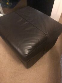 Brown leather 2 seater recliner + storage footstool
