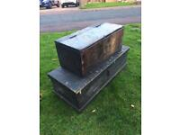 2 Antique pine woodwork/tool boxes