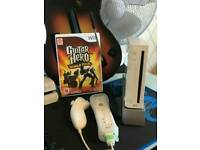 Wii with guitar hero
