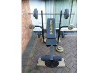 Heavy weight Golds Gym Multi-Purpose Weight lifting bench & weights