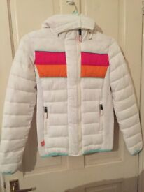 Superdry white puffer coat size small new