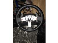 Logitech G25 Steering wheel for games. £50