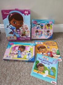3 Doc Mcstuffins jigsaws and 2 books