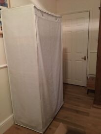 Polycotton covering & Pine Frame Double Wardrobe - cream £20
