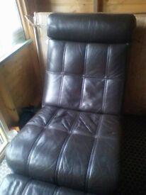 Brown genuine leather Swivel chair + Footstool