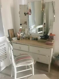 Beautiful shabby chic dresser with chair