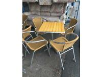 Table & 4 bamboo type chairs