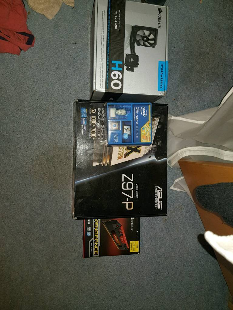 i5 4690k, Corsair H60 Cooler, 16GB Corsair Vengance 2333Mhz DDR3 Ram, Asus Z-97P Motherboard Bundle