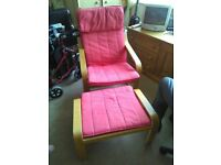 RED IKEA POANG CHAIR AND FOOT STOOL