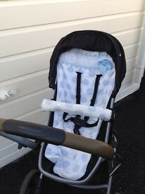 Gorgeous pram with Spanish baby blue and white cover