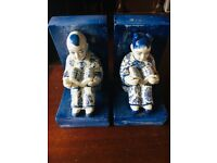 Blue and white bookends