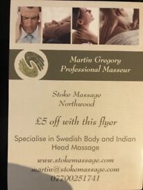 Diploma in Swedish body massage and Indian Head Massage. Please contact Martin for more details
