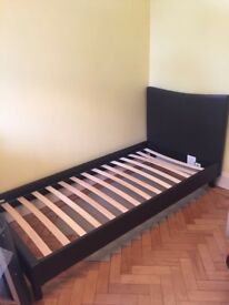Single Bed, Dark Brown, Faux Leather, Good Condition, Easily Assembled, Mattress Not Included.
