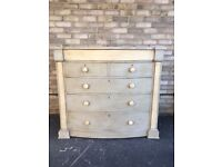 CHEST OF DRAWERS PAINTED FRENCH COUNTRY STYLE CREAM & GREY BOW FRONTED mahoghany
