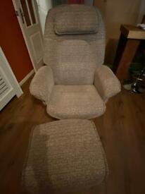 Reclining arm chair and foot stool