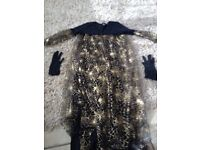 older girls handmade witches dress and gloves