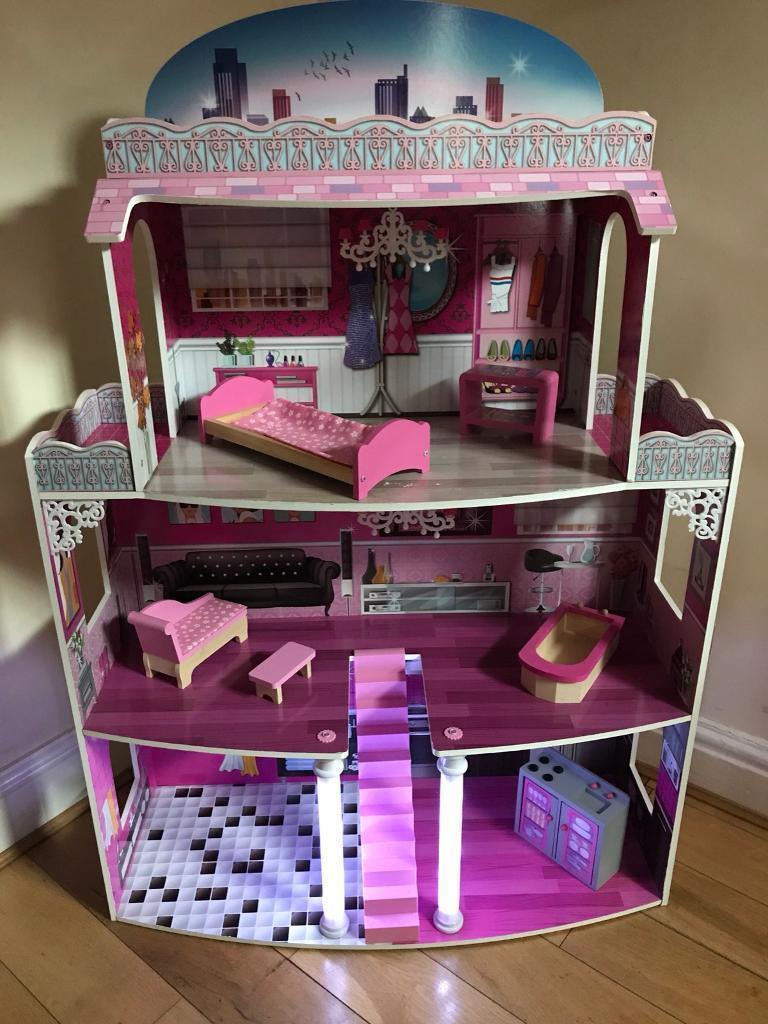 Large light up dolls house
