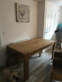 Solid Wood Table and Two Benches (Chairs)