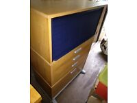2 x Blue tambour-top storage unit with 4 drawers in golden wood
